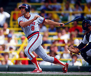 CHICAGO - 1987:  Bob Boone of the California Angels bats against the Chicago White Sox during an MLB game at Comiskey Park in Chicago, Illinois.  Boone played for the Angels from 1982-1988. (Photo by Ron Vesely)