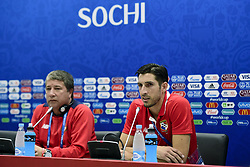 June 17, 2018 - Sochi, Russie - SOCHI, RUSSIA - JUNE 17 : Hernan Dario Gomez head coach of Panama and Jaime Penedo goalkeeper of Panama talking to the press during a press conference prior to the FIFA 2018 World Cup Russia group G phase match between Belgium and Panama at the Fisht Stadium on June 17, 2018 in Sochi, Russia, 17/06/2018 (Credit Image: © Panoramic via ZUMA Press)