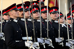 Sandhurst officer cadets at The Sovereign's Parade at Royal Military Academy Sandhurst in Camberley.