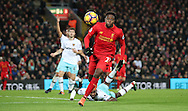 Divock Origi of Liverpool during the Premier League match at Anfield Stadium, Liverpool. Picture date: December 11th, 2016.Photo credit should read: Lynne Cameron/Sportimage