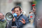 London, UK, May, 8, 2021 — Former veterans minister Johnny Mercer addresses a 'Respect our Veterans' march in Parliament Square, central London on Saturday, May 8, 2021. The march follows the collapse of the controversial trial earlier this week against two paratroopers accused of murdering Official IRA leader Joe McCann in 1972. (Photo/ Vudi Xhymshiti)