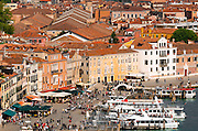 Ferry boats and tourists on the promenade, Venice, Veneto, Italy