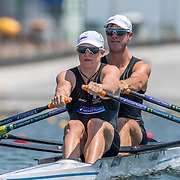 Kobe Miller (Bow) (Blenheim Rowing Club) and Scott Shackleton (Christchurch Boys High School), NZ Junior Mens Double Scull<br /> <br /> Qualification races and training at the 2019 Junior Worlds, on the Sea Forest Waterway, Tokyo, Japan. Thursday 8  August 2019  © Copyright photo Steve McArthur / www.photosport.nz