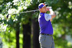 Dabo Swinney tees off during the Chick-fil-A Peach Bowl Challenge at the Oconee Golf Course at Reynolds Plantation, Sunday, May 1, 2018, in Greensboro, Georgia. (Dale Zanine via Abell Images for Chick-fil-A Peach Bowl Challenge)