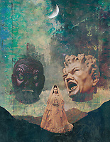 Psycho-Mytho woman fully grounded standing with embodied meditative magnetism on a psychological mountain pass while synching her Reiki with the cosmos as two heads threaten her existence. Passageway through unsafe territory.Two Bullies Threaten Perseverance