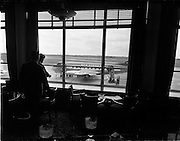 """17/05/1956<br /> 05/17/1956<br /> 17 May 1956<br /> Interior views at Dublin Airport. View of Aer Lingus Vickers Viscount """"Brigid"""" Ei-AFW from the bar."""
