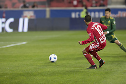 March 10, 2018 - Harrison, New Jersey, United States - Alejandro Kaku Romero Gamarra (10) passes ball to Benjamin Mines (not pictured) of Red Bulls who scored goal during regular MLS game against Portland Timbers at Red Bull Arena Red Bulls won 4 - 0 (Credit Image: © Lev Radin/Pacific Press via ZUMA Wire)