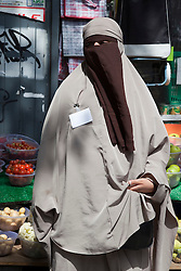 """© under licence to London News Pictures. LONDON, 21/05/2011. Portrait of KENZA DRIDER, the French woman who recently defied the Niqab, full veil, ban in France.  She was arrested by the French Police for refusing to take off her full veil in public. Appearing at conference """"Confronting Anti-Muslim Hatred in Britain and Europe. London Muslim Centre. Photo credit should read BETTINA STRENSKE/LNP"""