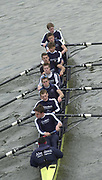 Hammersmith, London. 2002 Varsity Boat Race, 26/3/2002, Tideway Week,  Oxford Blue Boat Passes under Hamersmith Bridge, during a training session on the Championship Course, River Thames, England.  [Mandatory Credit; Peter Spurrier / Intersport Images ]<br /> <br /> 2002 Oxford Crew:   Bottom, Stroke and President, Matt Smith Robin Bourne-Taylor, Ben Burch, Luke McGee, Dan Perkins,