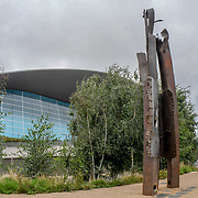 911 steel beam structure In The Olympic Park, London, UK. 11th September 2018. The 911 steel beam structure a Memorial In The Olympic Park. A memories of September 11, 2001 attack of 3,000 death. The world never is the same again 17 years later from Al Qaeda 's to Taliban, IS, Daesh to ISIS? or regimes change? logic seven largely Muslim countries (Afghanistan, Iraq, Libya, Pakistan, Somalia, Syria, and Yemen) none of them has any link to the 9/11 attacks? and destroyed 20 million Arabs/Muslim killed and over 65 millions refugees?. Who is our real enemy of mankind, an enemy of humanity? shouldn't we look in the mirror? How many have more lives to pay for the September 11 are we really innocent and are we really the victims? it time to end the injustice barbaric atrocity of war on terror now?