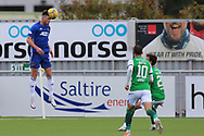 Cove Rangers Mitchel Megginson (9) heads the ball during the Betfred Scottish League Cup match between Cove Rangers and Hibernian at Balmoral Stadium, Aberdeen, Scotland on 10 October 2020.