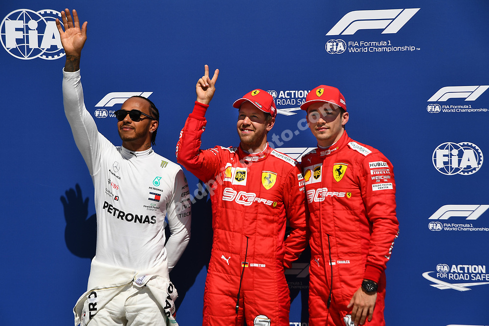 Sebastian Vettel, Charles Leclerc (both Ferrari) and Lewis Hamilton (Mercedes) after qualifying for the 2019 Canadian Grand Prix in Montreal. Photo: Grand Prix Photo