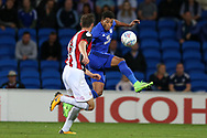 Nathaniel Mendez-Laing of Cardiff city ® in action. EFL Skybet championship match, Cardiff city v Sheffield Utd at the Cardiff City Stadium in Cardiff, South Wales on Tuesday 15th August 2017.<br /> pic by Andrew Orchard, Andrew Orchard sports photography.