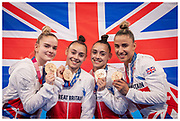 Team GB win Bronze during the women's Artistic Gymnastics team final at the Tokyo 2020 Olympic Games at the Ariake Gymnastics Centre in Tokyo, Japan. Featuring Jennifer and Jessica Gadirova, Alice Kinsella and Amelie Morgan.