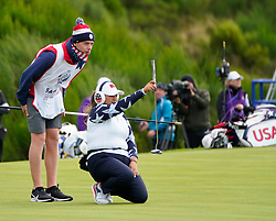 Auchterarder, Scotland, UK. 14 September 2019. Saturday morning Foresomes matches  at 2019 Solheim Cup on Centenary Course at Gleneagles. Pictured; Lizette Salas lines up putt on 9th green. Iain Masterton/Alamy Live News