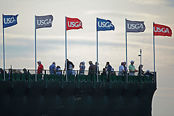 June 16, 2018 - Southampton, NY, USA - A view of the grandstands on the 18th hole during the third round of the 2018 U.S. Open at Shinnecock Hills Country Club in Southampton, N.Y., on Saturday, June 16, 2018. (Credit Image: © Brian Ciancio/TNS via ZUMA Wire)