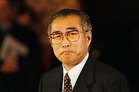 12.01.1999, Deutschland/Bonn:<br /> Keizo Obuchi, Ministerpräsident Japan, während der Presseunterrichtung, Bundeskanzleramt, Bonn<br /> IMAGE: 19990112-02/01-29