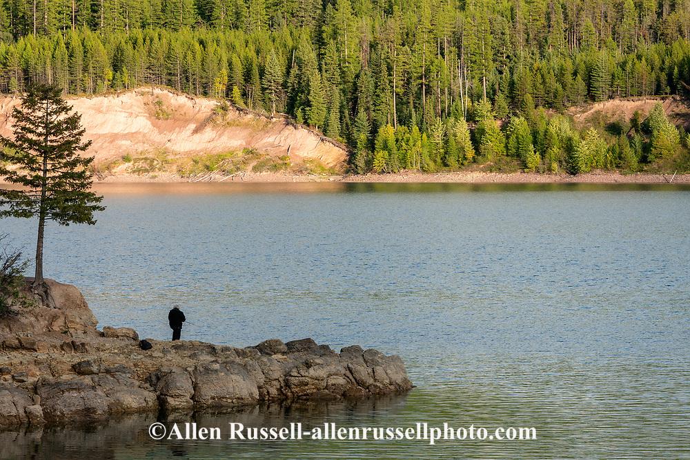 Hungry Horse Reservoir, Emerys Bay, fishing, woman, Flathead National Forest, Montana