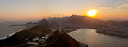 Christ the redeemer seen from Sugar Loaf mountain at sunset, Rio de Janeiro.