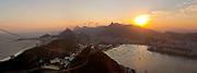 Christ the redeemer seen from Sugar Loaf mountain at sunset, Rio de Janeiro.
