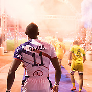 Perry Baker of the United States walks out of the tunnel as the United States face Australia in pool play at the USA Sevens, 5th round of the HSBC World Sevens Series in Las Vegas, Nevada. U.S.A. Friday March 2, 2018.<br /> <br /> By Jack Megaw.<br /> <br /> <br /> <br /> www.jackmegaw.com<br /> <br /> jack@jackmegaw.com<br /> @jackmegawphoto<br /> [US] +1 610.764.3094<br /> [UK] +44 07481 764811
