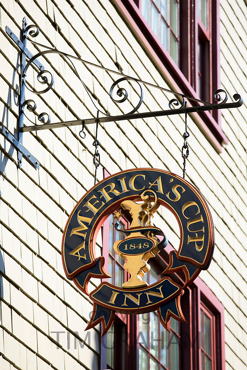 America's Cup Inn corner of Mary Street and Thames Street in Newport, Rhode Island, USA