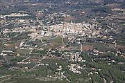 Raised view over Parcent village and Pop Valley, La Marina Alta, Alicante province, Spain