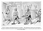 """A Serious Omission from the Motor Show at Olympia. The pedestrians' restoration department. They might at least devise some pneumatic arrangement for restoring us, more or less, to our original shape after they have rolled us out flat on the King's highway. (an Edwardian cartoon shows a garage for 'Flattened Pedestrians Re-Inflated Here: Original Shape Guaranteed - Moderate Charge' while a policeman brings in a new casualty: """"Ere's another of 'em mate; as soon as you've got that there other lot pumped up"""")"""