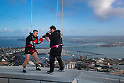 "New Zealand's Geovana Peres WBO light heavyweight world champion during a workout session on the Skytower ""SkyWalk"", Auckland, New Zealand.<br /> 31 July 2019. Photo: Brett Phibbs/PhibbsVisuals  for Rival Sports Promotion Ltd"