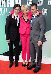 Director Noah Baumbach, Emma Thompson and Adam Sandler arriving at the London Film Festival Premiere of The Meyerowitz Stories, London. Photo credit should read: Doug Peters/EMPICS Entertainment