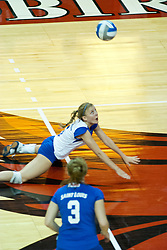 26 September 2006: Billikens libero Whitney Behrens catches herself to keep from hitting the floor after diving hard to get a dig. The match was tough and it took the Illinois State Redbirds 5 games to defeat the St. Louis University Billikens. The match took place at Redbird Arena on the campus of Illinois State University in Normal Illinois.