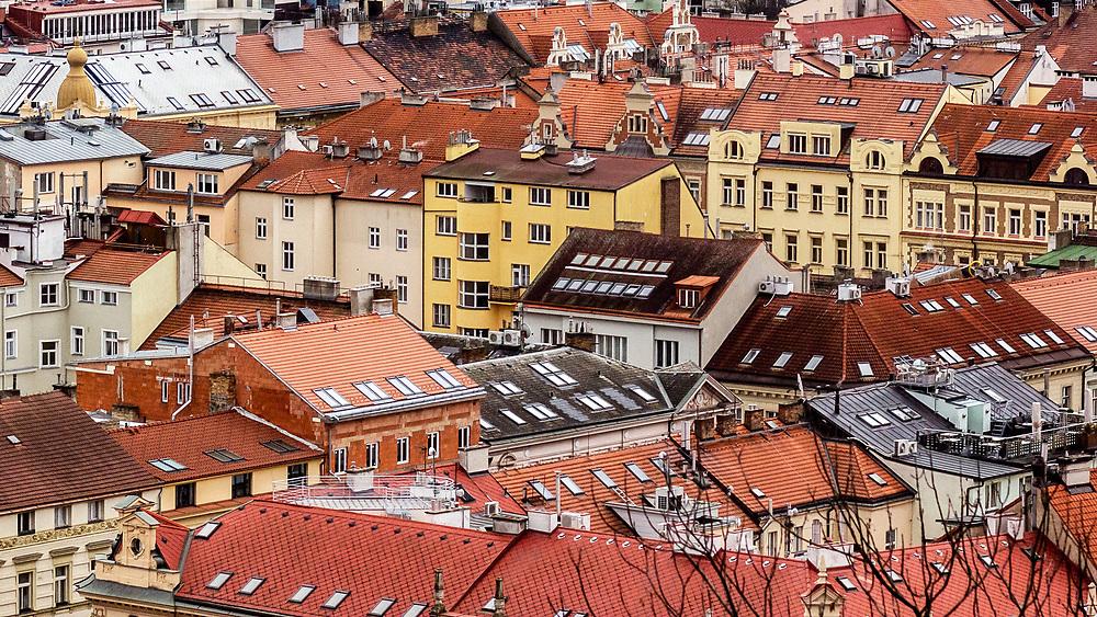 Roof tops of Prague, Czech Republic.