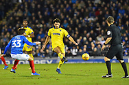 Will Nightingale (5) of AFC Wimbledon passes the ball during the EFL Sky Bet League 1 match between Portsmouth and AFC Wimbledon at Fratton Park, Portsmouth, England on 1 January 2019.