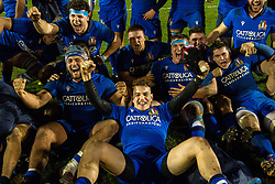 Italy players celebrate after beating Wales <br /> <br /> Photographer Craig Thomas/Replay Images<br /> <br /> U20 Six Nations - Wales v Italy  - Friday 31st January 2020 - Stadiwm Zip World (Parc Eirias) - Colwyn Bay<br /> <br /> World Copyright © Replay Images . All rights reserved. info@replayimages.co.uk - http://replayimages.co.uk