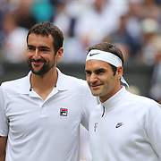 LONDON, ENGLAND - JULY 16: Marin Cilic of Croatia and Roger Federer of Switzerland before the Gentlemen's Singles final of the Wimbledon Lawn Tennis Championships at the All England Lawn Tennis and Croquet Club at Wimbledon on July 16, 2017 in London, England. (Photo by Tim Clayton/Corbis via Getty Images)