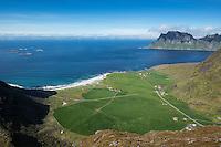 View over Uttakleiv beach from summit of Mannen, Vestvågøy, Lofoten Islands, Norway