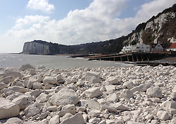 A recent cliff fall from the White Cliffs of Dover at St.Margaret's Bay, Kent. Photo by: Mary Lankester / i-Images
