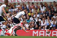 Kyle Walker of Tottenham Hotspur fouls Marko Arnautovic of Stoke City. Barclays Premier league match, Tottenham Hotspur v Stoke city at White Hart Lane in London on Saturday 15th August 2015.<br /> pic by John Patrick Fletcher, Andrew Orchard sports photography.