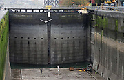 The Hiram M. Chittenden Locks large chamber is closed to vessel traffic while valves are replaced. (Greg Gilbert / The Seattle Times)
