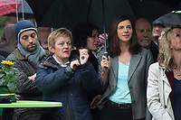 """20 SEP 2013, BERLIN/GERMANY:<br /> Renate Kuenast (L), B90/Gruene, Fraktionsvorsitzende, Katrin Goering-Eckardt (R), B90/Gruene, Spitzenkandidatin, unter ienem Schirm, waehrend einer Wahlkampfveranstaltung """"Wahlkampfhoehepunkt"""", Wahlkampf zur Bundestagswahl 2013, RAW Tempel, Revaler Straße 99, Berlin-Friedrichshain <br /> IMAGE: 20130920-02-050<br /> KEYWORDS: Wahlkampf, Veranstaltung, Renate Künast, Katrin Göring-Eckardt"""