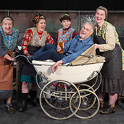 The Steamie at The SSE Hyrdo | 27 - 31 Dec.<br /> <br /> L to R : Mrs Culfeathers (Mary McCusker), Magrit (Louise McCarthy), Doreen (Fiona Wood), Tony Roper (writer and director) and Dolly (Gayle Telfer Stevens).<br /> <br /> Cast of the Steamie in full costume with some replica steamie stalls, prams etc – as they rehearse for the show at the Hydro. <br /> <br /> Picture Robert Perry 2nd Dec 2019<br /> <br /> Must credit photo to Robert Perry<br /> FEE PAYABLE FOR REPRO USE<br /> FEE PAYABLE FOR ALL INTERNET USE<br /> www.robertperry.co.uk<br /> NB -This image is not to be distributed without the prior consent of the copyright holder.<br /> in using this image you agree to abide by terms and conditions as stated in this caption.<br /> All monies payable to Robert Perry<br /> <br /> (PLEASE DO NOT REMOVE THIS CAPTION)<br /> This image is intended for Editorial use (e.g. news). Any commercial or promotional use requires additional clearance. <br /> Copyright 2018 All rights protected.<br /> first use only<br /> contact details<br /> Robert Perry     <br /> <br /> no internet usage without prior consent.         <br /> Robert Perry reserves the right to pursue unauthorised use of this image . If you violate my intellectual property you may be liable for  damages, loss of income, and profits you derive from the use of this image.