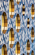 Aluminium tiled facade of Ravensbourne College, Greenwich Peninsula, London. Built 2010: Architect: Foreign Office Architects