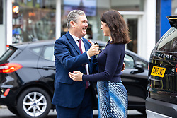 © Licensed to London News Pictures. 26/09/2021. EMBARGOED UNTIL 27 SEPTEMBER 2021 .Brighton, UK. Labour Party Leader SIR KEIR STARMER and Shadow Chancellor RACHEL REEVES visit shops and cafes on George Street in Hove . The second day of the 2021 Labour Party Conference , which is taking place at the Brighton Centre . Photo credit: Joel Goodman/LNP
