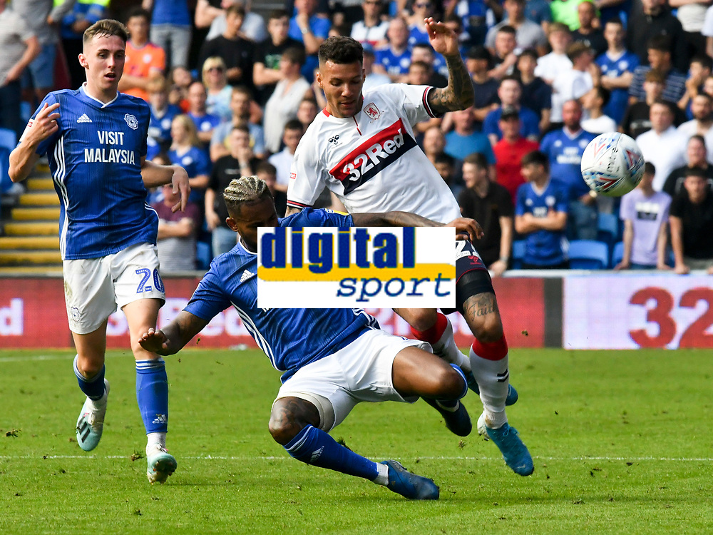 Football - 2019 / 2020 Sky Bet (EFL) Championship - Cardiff City vs. Middlesbrough<br /> <br /> Marvin Johnson of Middlesbrough  tackled by Leandro Bacuna of Cardiff City, at the Cardiff City Stadium.<br /> <br /> COLORSPORT/WINSTON BYNORTH