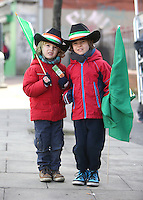 Justin, 4 and Evan, 7 Harris from Palmerston, Dublin pictured at the centenary Easter Rising Parade at Cuffe Street in Dublin. Picture credit; Damien Eagers 27/3/2016