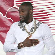 CANASTOTA, NY - JUNE 10:  Deontay Wilder is seen during the 2018 induction ceremony at the International Boxing Hall of Fame for the Weekend of Champions event on June 10, 2018 in Canastota, New York. (Photo by Alex Menendez/Getty Images) *** Local Caption *** Deontay Wilder