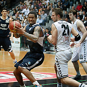 Efes Pilsen's Lawrence ROBERTS (C) during their Turkish Basketball league derby match Besiktas between Efes Pilsen at the BJK Akatlar Arena in Istanbul Turkey on Saturday 30 April 2011. Photo by TURKPIX