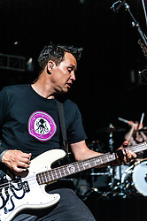 © Licensed to London News Pictures. 25/07/2012. London,UK.  Blink-182 perform live at O2 Academy Brixton.  Blink-182 is an American rock band consisting of vocalist and bass guitarist Mark Hoppus, vocalist and guitarist Tom DeLonge, and drummer Travis Barker.  In this pic - Mark Hoppus.  Photo credit : Richard Isaac/LNP