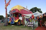 Mandatory Credit: Photo by STEVE MEDDLE / Rex Features<br /> KIDZ OFFICE<br /> GLASTONBURY FESTIVAL DAY 3, BRITAIN - 29 JUN 2003<br /> <br /> BUS CAMP TENT CHILDRENS AREA CHILDREN