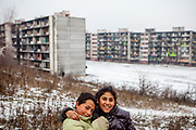 Two young inhabitants of the Lunik IX housing estate which is the home of the largest Roma community in Slovakia. The community is located a few kilometers away from the historical city centre, on the outskirts of the eastern Slovakian city of Kosice. Since the beginning of the 1980s a large number of the Roma residents living in the city and in nearby settlements have been moved to Lunik IX. Lunik IX has officially 6542 registered (12/2015) inhabitants and almost all of them are of Roma ethnicity.